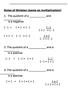 Dividing Integers Notes and Assignment