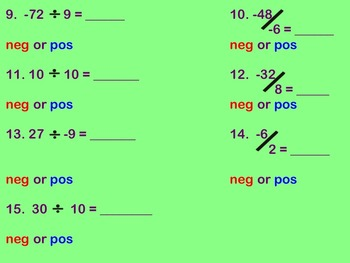 Dividing Integers Notes and  Assignment on Smartbaord