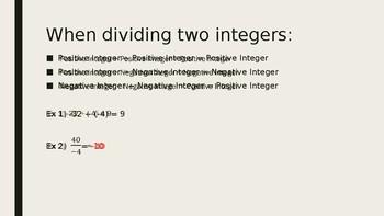 Dividing Integers Powerpoint Lesson Plans