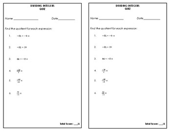 Dividing Integers Quiz