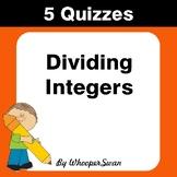 Dividing Integers Quiz - Test - Assessment - Worksheets