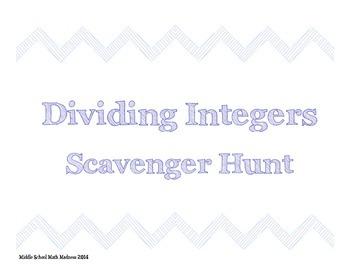 Dividing Integers Scavenger Hunt