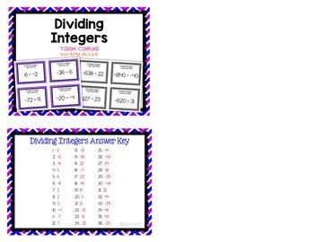 Integer Task Cards - Division