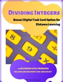 Dividing Integers Task Cards Distance Learning