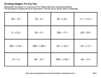 Dividing Integers Tic-Tac-Toe