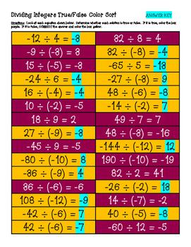 Dividing Integers True/False Color Sort