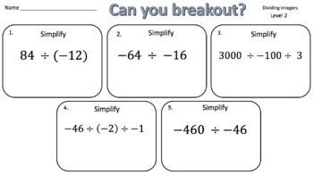 Dividing Integers – Two Breakout Activities!
