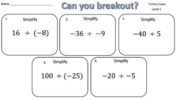 Dividing Integers – Two Breakout Activities!