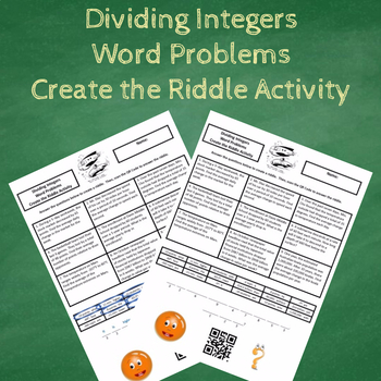 Dividing Integers Word Problems Create the Riddle Activity