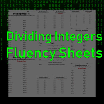 Dividing Integers Fluency Sheets