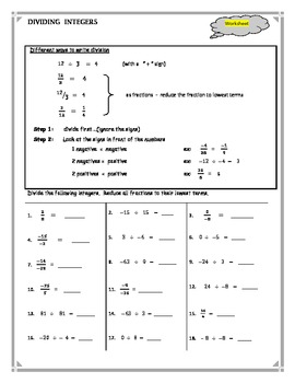 Dividing Integers tpt