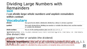 Dividing Large Whole Numbers and Explaining Remainders In Context
