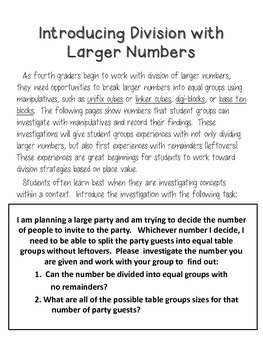 Dividing Larger Numbers - Introducing with Math Tools