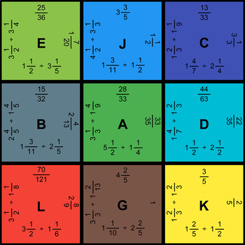 Dividing Mixed Fractions - Puzzles with GOOGLE Slides