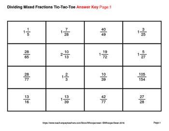 Dividing Mixed Fractions Tic-Tac-Toe