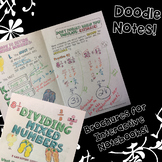 Dividing Mixed Numbers - Decorated Notes Brochure for Interactive Notebooks