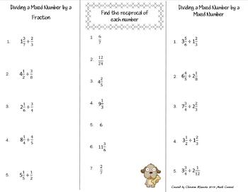 Dividing Mixed Numbers Print n' Fold (Foldable) Interactive Notebook