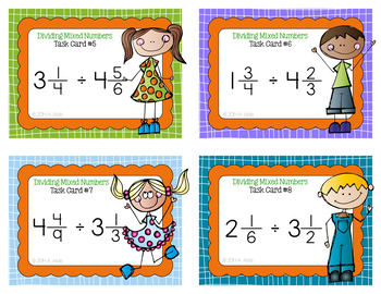 Fraction Task Cards - Dividing Mixed Numbers - SCOOT