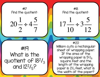 Dividing Mixed Numbers Task Cards