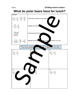 Dividing Mixed Numbers - Joke Worksheet