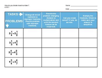 Dividing Mixed Numbers Matrix 6.NS.1