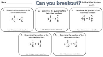 Dividing Mixed Numbers – Two Breakout Activities!