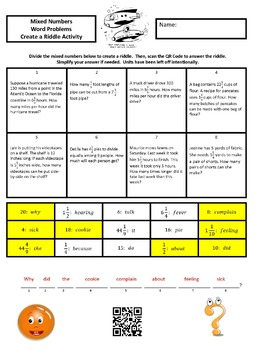 Dividing Mixed Numbers Word Problems Create the Riddle Activity