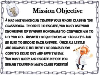 Dividing Monomials Activity: Algebra Escape Room Math