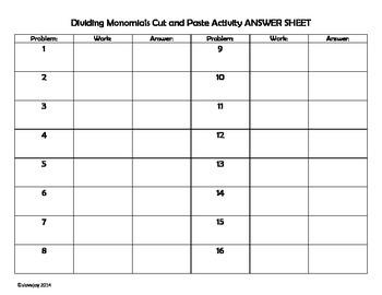 Dividing Monomials Cut and Paste Activity