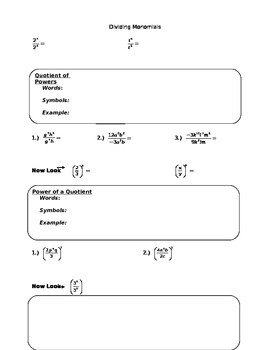 Dividing Monomials Guided Notes