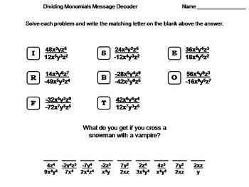 Dividing Monomials Worksheet: Math Message Decoder