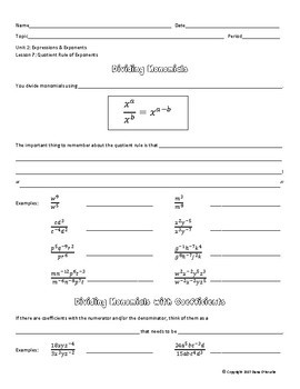 Dividing Monomials with the Quotient Rule Guided Notes & Assignment