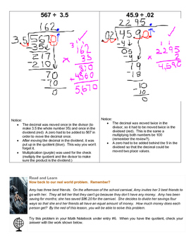 Dividing Multi-Digit Decimal Numbers Grade 6 Lesson Plan