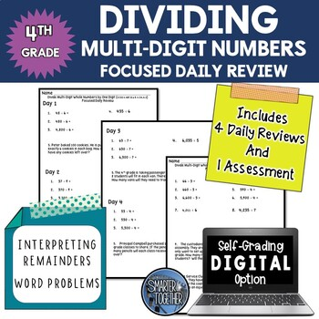 Dividing Multi-Digit Numbers - Focused Daily Review - 4th Grade
