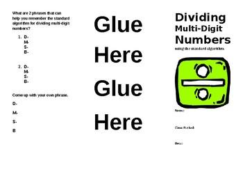 Dividing Multi-Digit Numbers Foldable