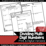 Dividing Multi-Digit Numbers Guided Cornell Notes | Distan