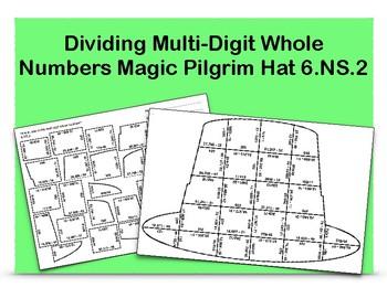 Dividing Multi-Digit Whole Numbers Magic Pilgrim Hat 6.NS.2