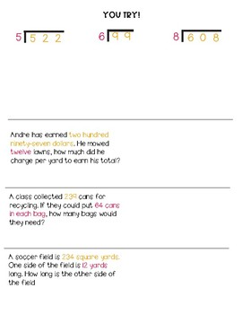 Dividing Multi-digit Whole Numbers Guided Math Notes
