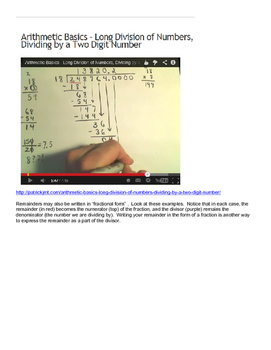 Dividing Multi-digit Whole Numbers with Remainders Grade 6 Lesson Plan