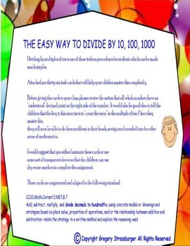Common Core-Dividing Numbers By 10, 100, 1000 Made Easy Task Cards