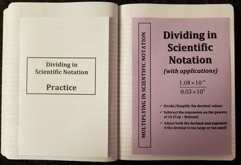 Dividing Numbers in Scientific Notation (Foldables)