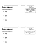 Dividing Polynomial Expressions Exit Tickets
