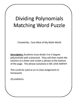 Dividing Polynomial Matching Puzzle