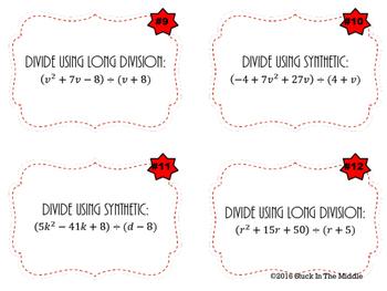 Dividing Polynomial Task Cards
