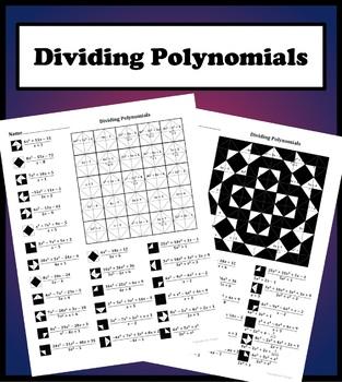 dividing polynomials color worksheet by aric thomas tpt. Black Bedroom Furniture Sets. Home Design Ideas