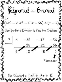Dividing Polynomials Student Notes Booklet