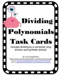 Dividing Polynomials Task Cards - Includes Long Division and Synthetic Division