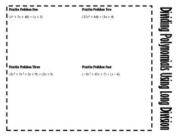Dividing Polynomials Using Long Division - Notes AND Dot Game!