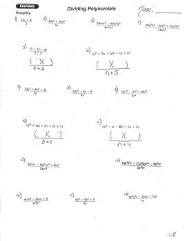 Dividing Polynomials and simplifying
