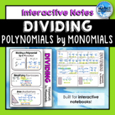 Dividing Polynomials by Monomials Notes for Interactive Notebook